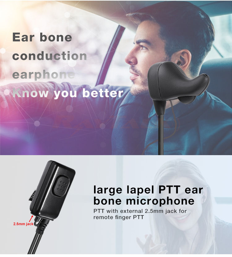 Ear Bone Vibration Conduction Headset Earpiece for Walkie Talkie Two Way Radio