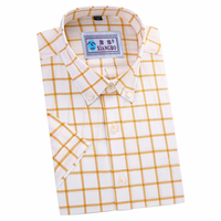 Fast delivery men 100% cotton fashion slim fit short sleeve casual plaid shirt