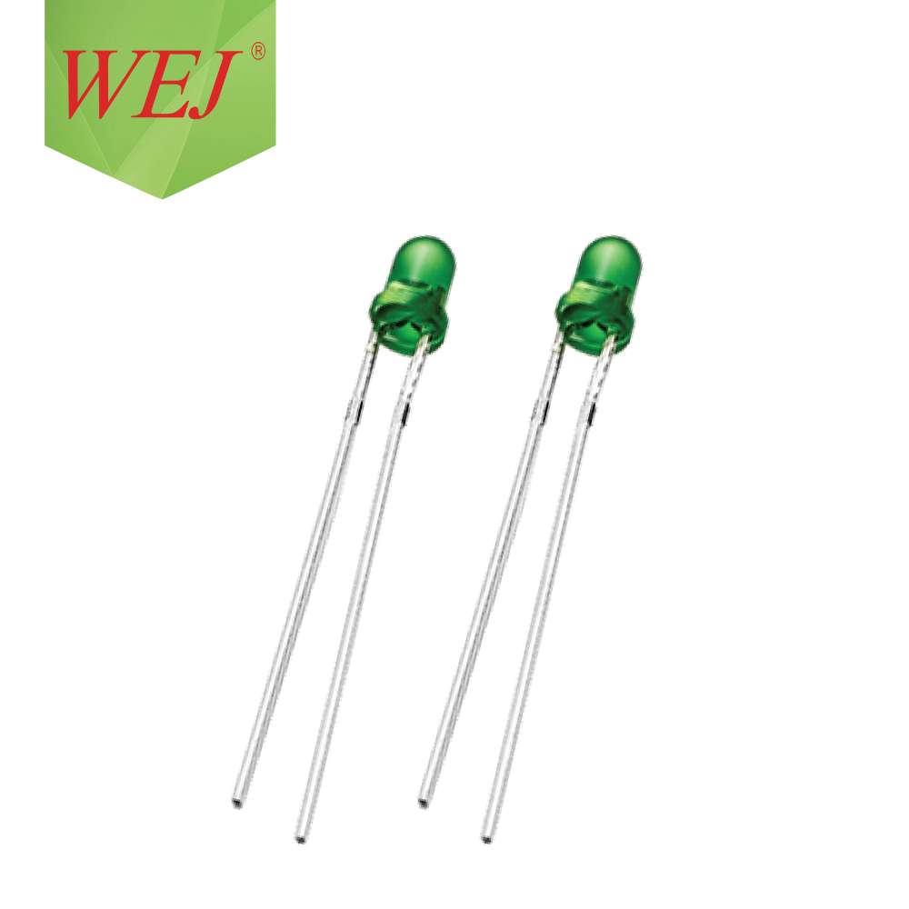 WEJ Superior quality Low power consumption RoHS 3mm 30mA 3.0-3.4V Round Head green LED