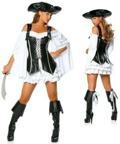 Ecoparty Pirates of the Caribbean cosplay dress+hat+vest Halloween carnival women sexy costume party costume uniform Adult