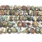 Factory Price Natural Green Rhyolite Faceted Flat Rectangle Loose Beads Healing Energy for Jewelry Making DIY Bracelet Necklace