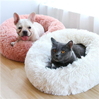 Manufacture Pet Accessories Cat Washable Large Donut Round Plush Sofa dog Luxury Rest improved Sleep Faux Fur Dog Bed