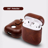 Leather Protective Bag for Earphone Headphone Charging Case Shockproof with Metal Hook Carabiner Portable Cover
