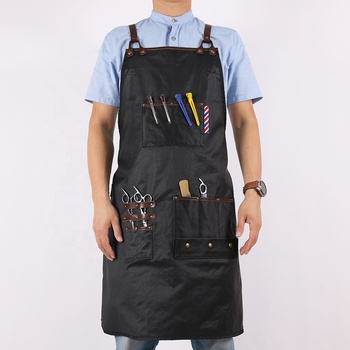 Custom waterproof black cotton shop barber apron for hairdressing