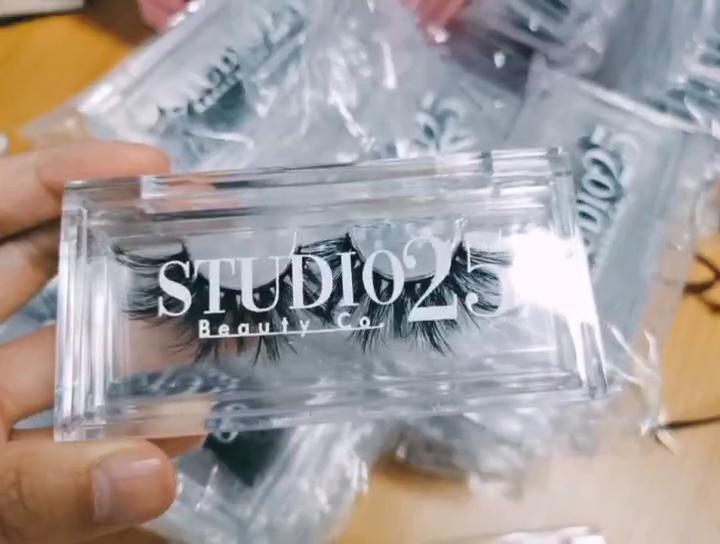 Commercio all'ingrosso logo Personalizzato private label Imitazione acrilico ABS PMMA Trasparente di plastica di vibrazione 3D visone casella di ciglia finte lash casi fornitore