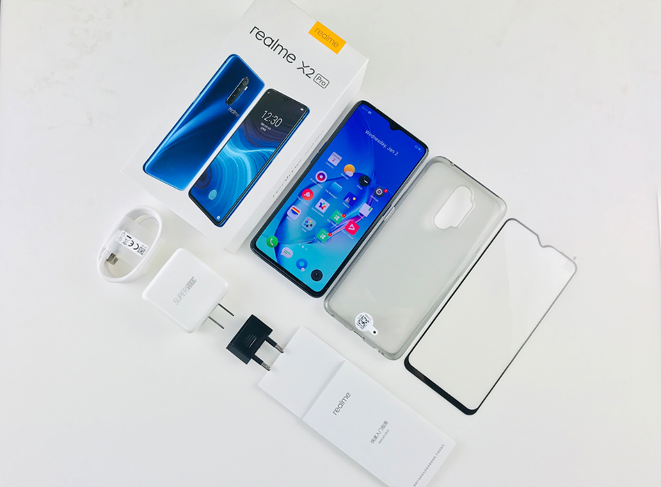 "Global Version realme X2 Pro Snapdragon 855 PLUS 8GB 128GB ROM 6.5 ""โทรศัพท์มือถือ NFC 64MP Quad กล้อง 50W Super VOOC FAST CHARGE"