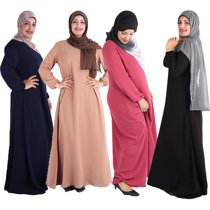 2019 New fashion solid plain color muslim clothing women long skirt dress Turkey Design abaya