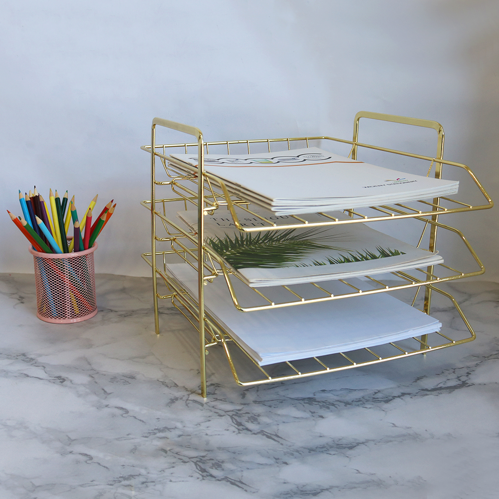 Office supplier accessories wire mesh metal Desktop Stackable 3 layer folding rose gold File Tray