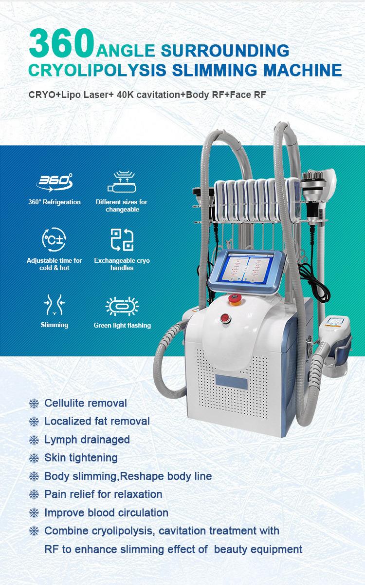 Portable 360 Degree lipolysis Cool Machine cryolypolysis 2 handles with chin Fat Freeze sculpting lipolaser body slim equipment