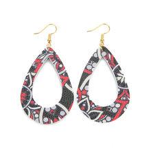 Женские винтажные серьги-капли из искусственной кожи с цветочным принтом, милые кожаные серьги в стиле бохо, женские модные аксессуары(Китай)