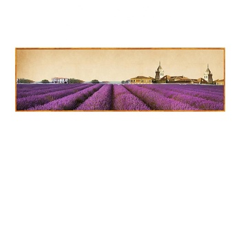 Printed Landscape Paintings Lavender Field Painting Framed Art Work for Hotel