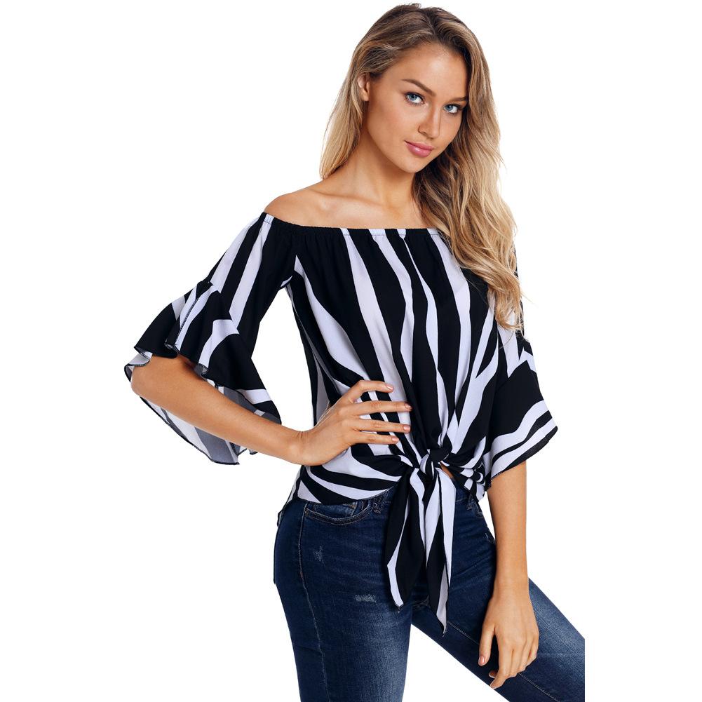 2020 Vertical stripe off shoulder women casual top