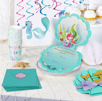 new arrivals Mermaid theme Birthday Party Baby Shower Supplies New Gift invitation Cards