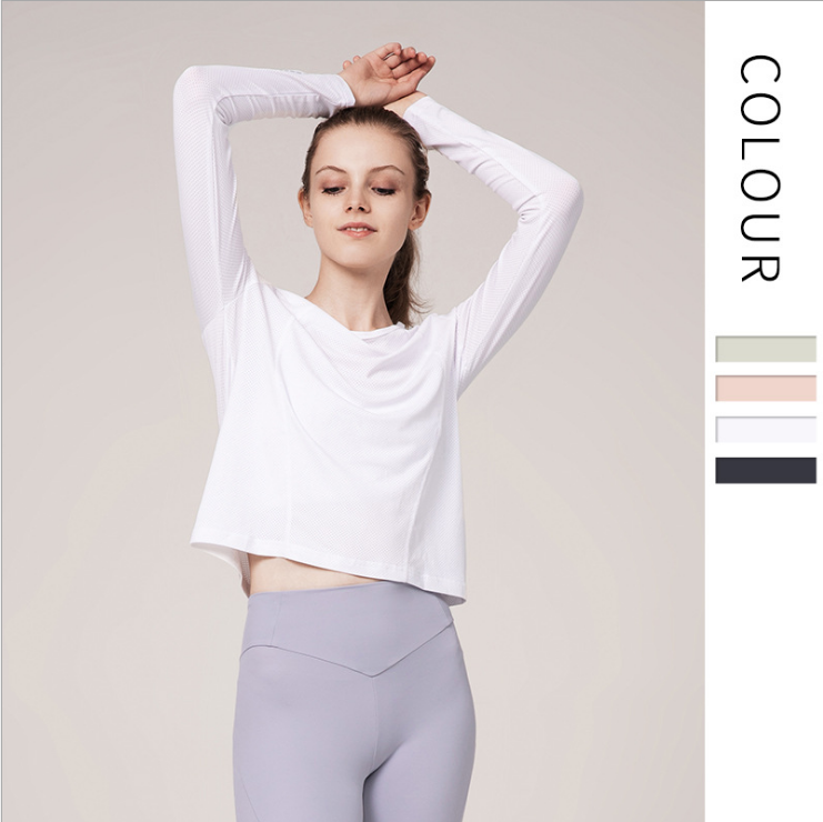 Thread Sports Shirt Female Long-sleeved Slim Button Breathable Round Neck Yoga Running Fitness 8