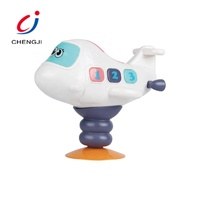 New novelty design kids plastic cartoon rocking air plane toy with light and sound