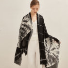 New cashmere black printed soft shawl scarf for women ladies in autumn winter