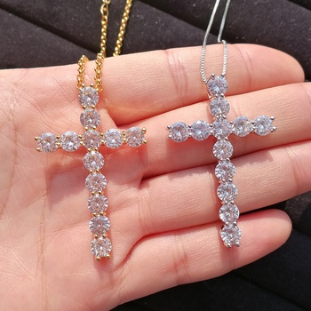iced out crystal cross pendant necklace