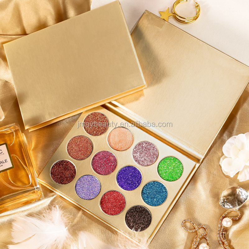 Private Label Kemasan Makeup Magnetik Kosong Eye Shadow Pallet 9/12/15 Warna Eyeshadow Palet