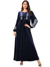 Арабское золото бархат вышитые Абая индийская одежда для женщин Punjabi Kurta вечерние макси с длинным рукавом пакистанские платья(Китай)