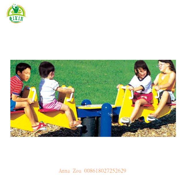 Popular outdoor garden playground equipment four seat seesaw kids rocking seesaw for sales QX-18092B