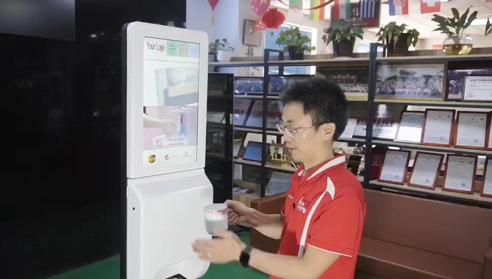 21.5นิ้วอัตโนมัติHand Sanitizer Dispenser Digital Signage Kioskโฆษณาหน้าจอ