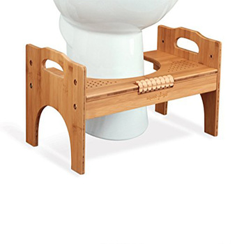 7 or 9 Adjustable Bamboo Luxury Squatting Toilet Stool with Built-In Foot Massager to Boost Blood Circulation.