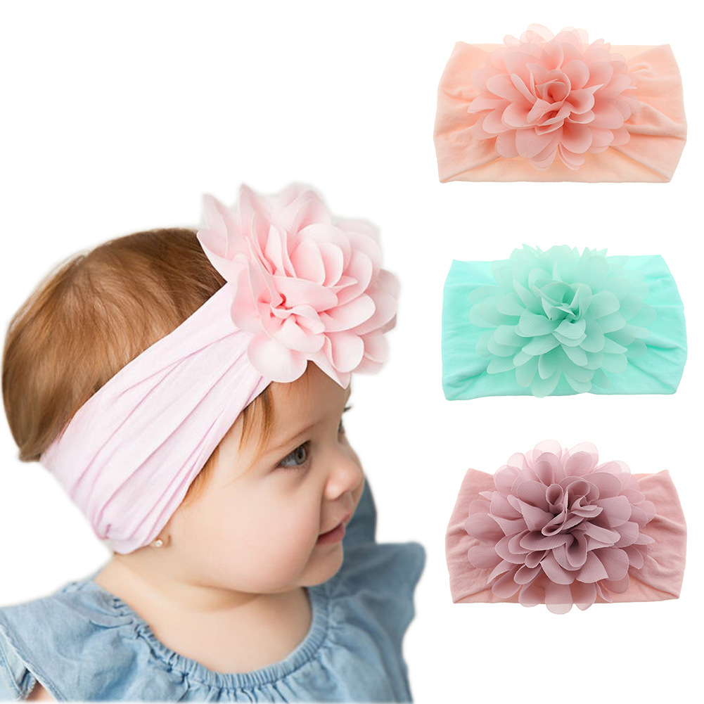 Fashion cute baby nylon stretch headband baby chiffon flower hair band princess hair accessories headscarf