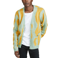 100% Acrylic Wavy Stripe Long Sleeve Knit Sweater Cardigan Men