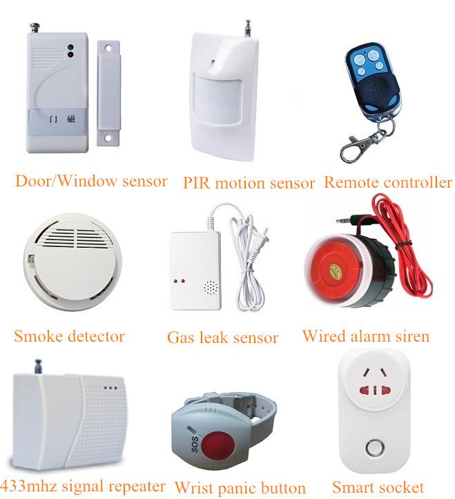 पीर मोशन सेंसर शामिल 88 वायरलेस क्षेत्रों और 6 वायर्ड जोन जीएसएम घर विरोधी चोरी बर्गलर अलार्म प्रणाली