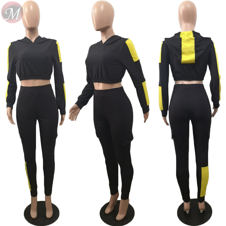 9121803 best seller long sleeve hooded splicing crop top casual Sport Suit Womens Two Piece Set Women Clothing