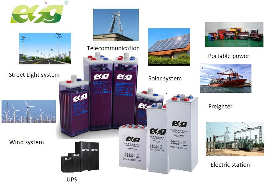 ESG ארוך חיים שמש עמוק מחזור Vrla 2V 1000Ah 2000AH 3000AH OPzV ג 'ל צינורי סוללות