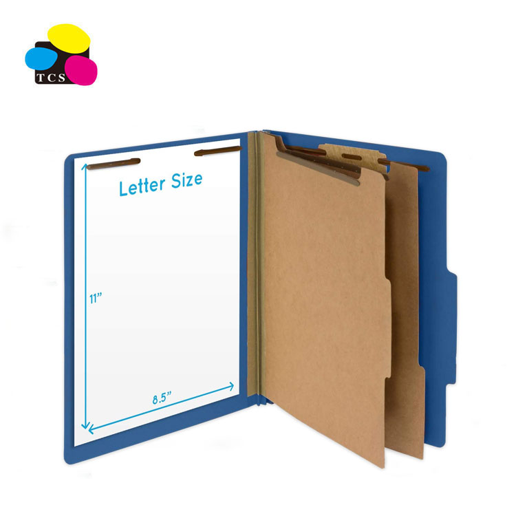 2020 New Product 2 Dividers 6Faces Dark Blue Stationery Classification Pressboard File Folder
