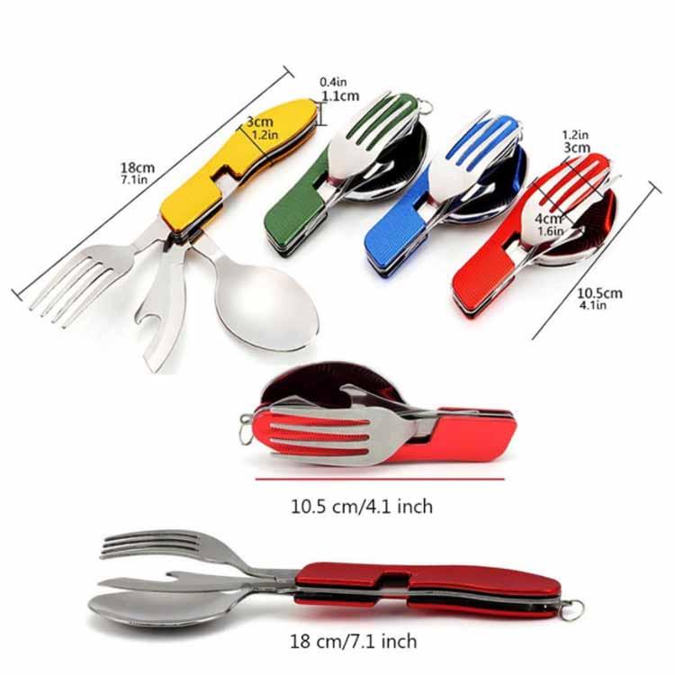 De acero inoxidable de bolsillo viajes de Camping plegable cuchillo tenedor cuchara Kit utensilios conjunto