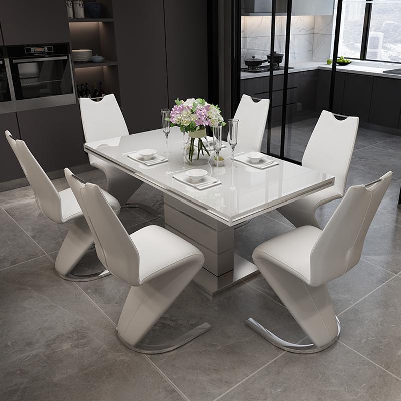 Juego de mesas y sillas de comedor de vidrio templado moderno, mesa de comedor cuadrada extensible, 6 sillas