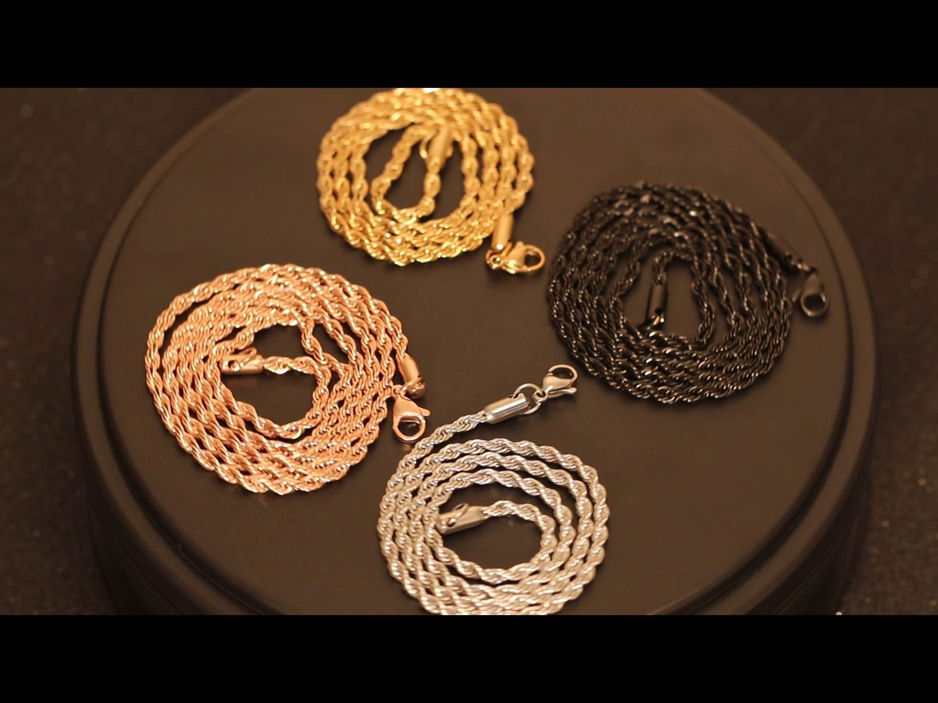 Высокое качество нержавеющей стальной трос цепи Заводская длина мужские ювелирные изделия ожерелье 18K позолоченные веревочной цепочке 3 мм 4 мм 5 мм 6 мм