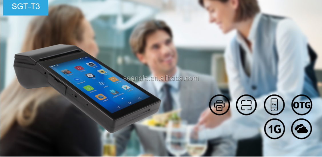 Scangle 7 Inch Handheld Android Tablet Mobile POS Terminal dengan 80 Mm Thermal Printer Mendukung 3G Bluetooth WIFI