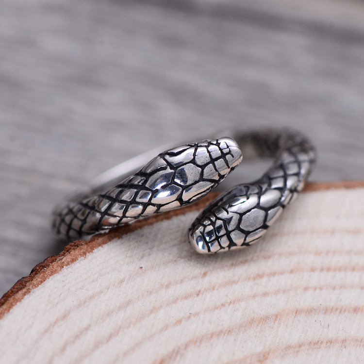 product-Engraved antique thai silver jewellery snake shaped rings-BEYALY-img