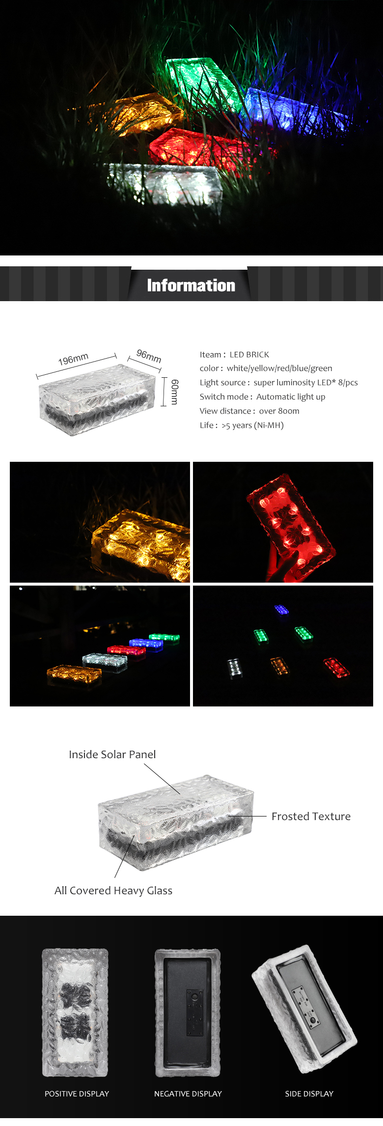 196x96x60mm hollow glass block with led lamp for indoor or outdoor decoration