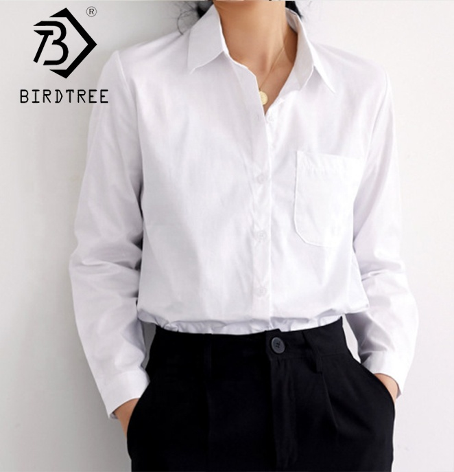 Ins Turn-Down Collar White Shirt Office <strong>Ladies</strong> Wear <strong>Cotton</strong> <strong>Blouses</strong> T9N909B