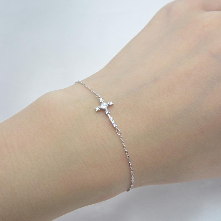 قابل للتعديل بسيط الصليب مجوهرات فضة خلخال سلسلة للقدم خلخال