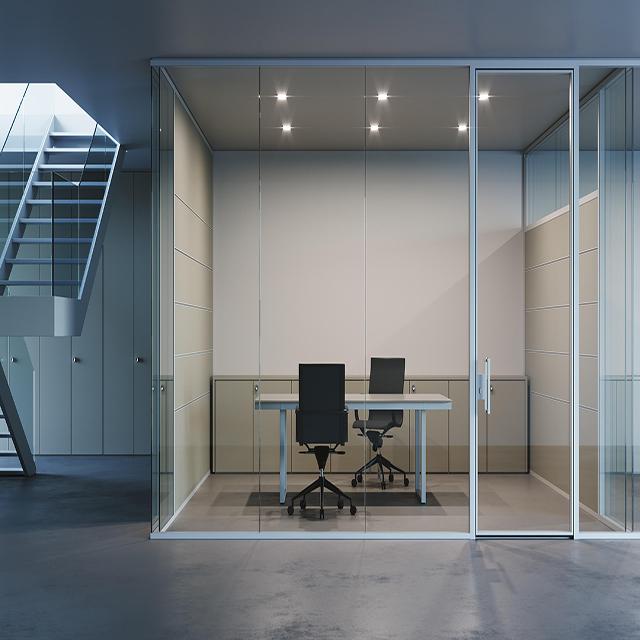 गर्म बिक्री कार्यालय अंतरिक्ष जुदाई फिसलने के साथ आधुनिक कार्यालय कांच विभाजन दरवाजा