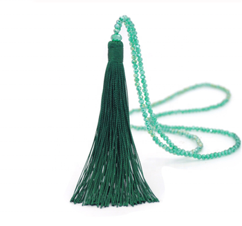 Tassel Pendant Necklace Glass Beaded Long Necklaces for Women