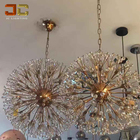 Modern luxury rose gold crystal chandelier lustre bola round pendant firework lamp for kitchen