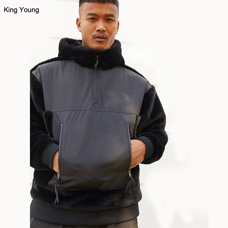 KY Fixed hood High neck Zip fastening Contrast panels Functional pockets oversized faux fur hoodie wholesale men custom
