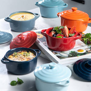 Simple design nordic style multi-color cutlery durable ceramic soup pot with lid and handle