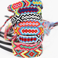 Custom Top Selling Unique National Bracelet Handmade Colorful Cotton Cord Woven Rope Friendship Bracelet String