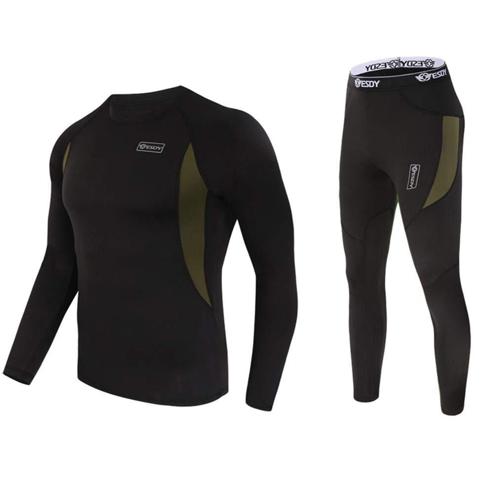 New Black Army Green Combat Tactical Fleece Warm Sport Thermal Underwear set for men