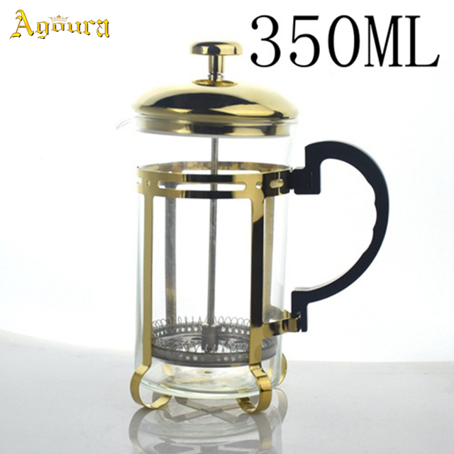 350ml / 600ml high heat resistant glass high quality stainless steel tea maker coffee press pot