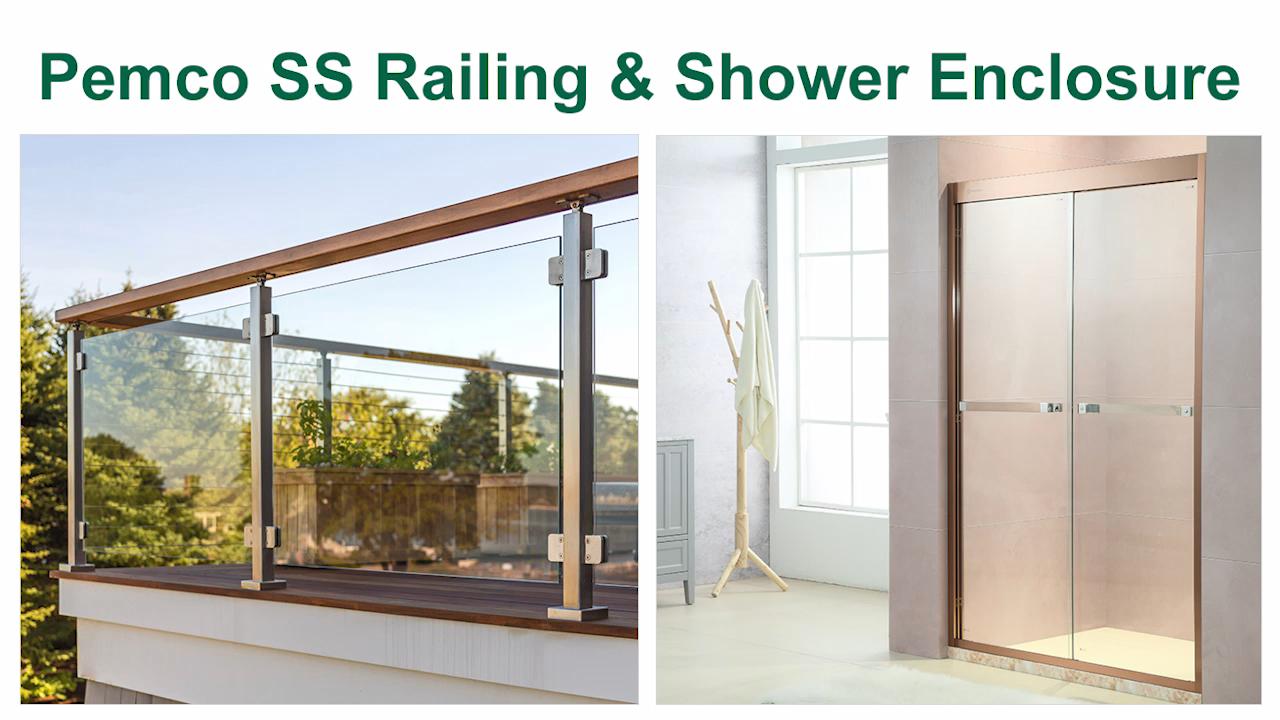 Custom Made SUS 304 Tempered Glass Shower Door  Hotel Luxury Simple Shower Room