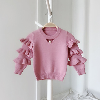 Baby to Toddler Girl O-neck Knitted Ruffle Sweater with Pearl Cute Pink Girl Winter Sweater Kid Girl Red Pull over Top Clothes